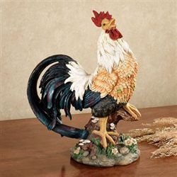 Barnyard King Proud Rooster Sculpture Multi Earth