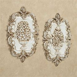 Victorian Blossoms Wall Plaques Ivory Set of Two