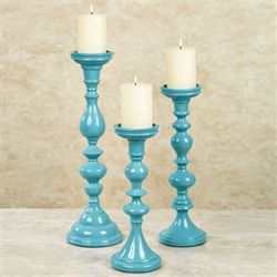 Summer Fresh Candleholders Aqua Set of Three