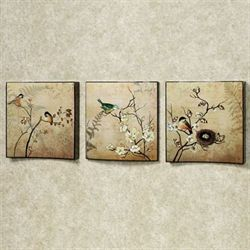Natures Kiss Birds Wall Art Set Beige Set of Three