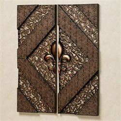 Fleur de Lis Wall Panel Set Aged Bronze Set of Two