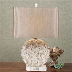Roussett Mother of Pearl Table Lamp Ivory Each with CFL Bulb