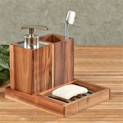 Acacia Wood Trio Bath Accessories Light Brown Set of Three