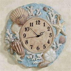 Down at the Beach Wall Clock Blue