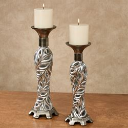 Biaggio Candleholders Silver Set of Two