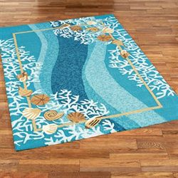 Shells and White Coral Rectangle Rug Multi Cool