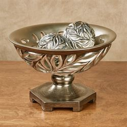 Biaggio Centerpiece Bowl with Orbs Silver Set of Three
