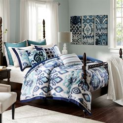 Seaglass Ikat Comforter Bed Set Blue