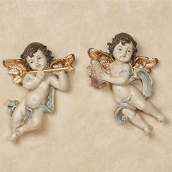 Dulcet Sounds Cherub Wall Plaques Blue Set of Two