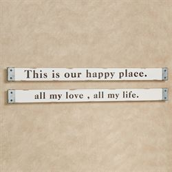 All My Love Happy Place Wall Signs Antique Ivory Set of Two