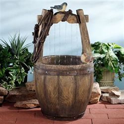 Wishing Well Bird Water Fountain Brown