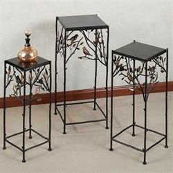 Bird Song Pedestal Table Set Black Set of Three