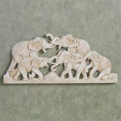 Elephant Family Wall Plaque Whitewash