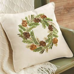 Pine Cone Wreath Decorative Pillow Light Cream 16 Square