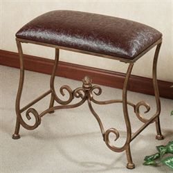 Reyling Upholstered Vanity Bench Antique Gold
