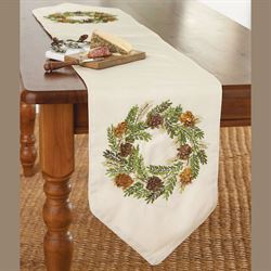 Pine Cone Wreath Table Runner Light Cream 12.5 x 70