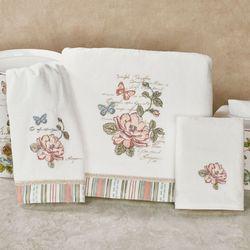 Butterfly Garden Bath Towel Set Ivory Bath Hand Fingertip