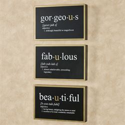 Fabulous Framed Wall Art Signs Black Set of Three