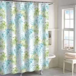 Tulum Tropical Shower Curtain White 72 x 72
