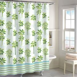 Tropical Palm Tree Shower Curtain White 72 x 72