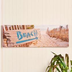 Beach Sign Canvas Wall Art Multi Warm