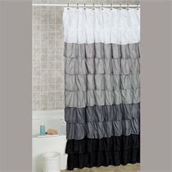 Maribella Ruffled Shower Curtain Charcoal 70 x 72