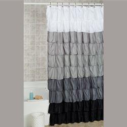 Maribella Ruffled Shower Curtain Charcoal 70 x 72