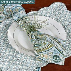 Amherst Reversible Napkins Blue Set of Four