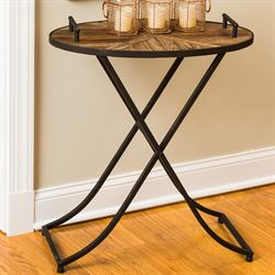 Parquet Side Table Dark Brown
