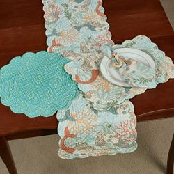 Dancing Waters Reversible Table Runner Multi Pastel 14 x 51