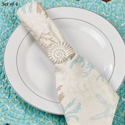 Nautilus Seashell Napkin Rings Whitewash Set of Four