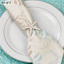 Starfish Napkin Rings Whitewash Set of Four