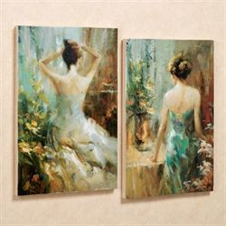 Elegant Ladies Canvas Wall Art Set Multi Warm Set of Two
