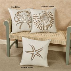 Crab Accent Pillow Ivory