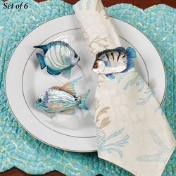 Boca Raton Fish Napkin Rings Multi Cool Set of Six