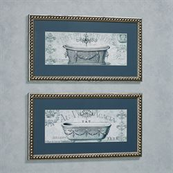 Paris Tub I Framed Wall Art Blue