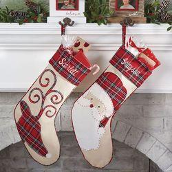 Reindeer Tartan Stocking Red