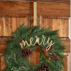 Merry Wreath Hanger Gold