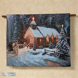 Christmas Chapel I Lighted Wall Tapestry Blue