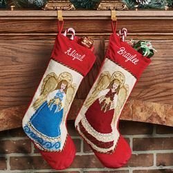 Heirloom Angel Needlepoint Christmas Stocking Red