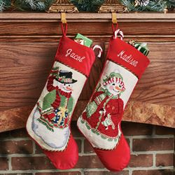 Heirloom Snowman Needlepoint Christmas Stocking Red