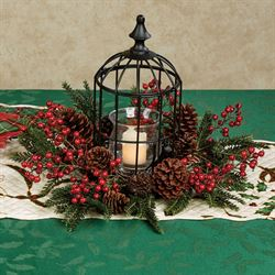 Holly Berry Birdcage Candleholder Red