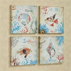 Coastal Treasures Canvas Set Multi Bright Set of Four