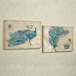 Peacock Fantasy Canvas Set Multi Jewel Set of Two