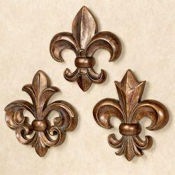 Fleur De Lis Wall Accents Bronze Gold Set Of Three