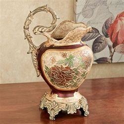 Elysian Blooming Pitcher Vase Burgundy