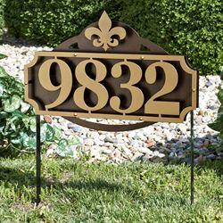 La Casa Fleur de Lis Address Yard Sign Gold/Bronze