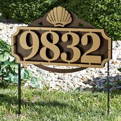 La Casa Shell Address Yard Sign Gold/Bronze