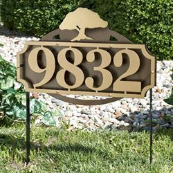 La Casa Tree Address Yard Sign Gold/Bronze