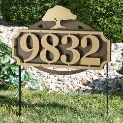 La Casa Tree Address Yard Sign Gold/Bronze